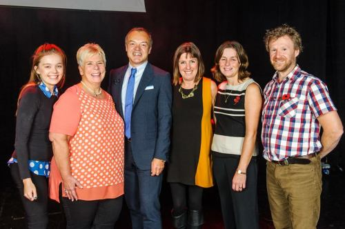 Some of the staff with Graham Norton © Licensed to simonjacobs.com. 27/10/2014 Watford, UK. Photo credit : Simon Jacobs