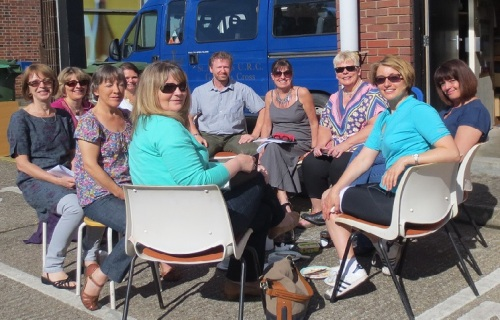 This morning's very productive staff meeting in the sunshine!